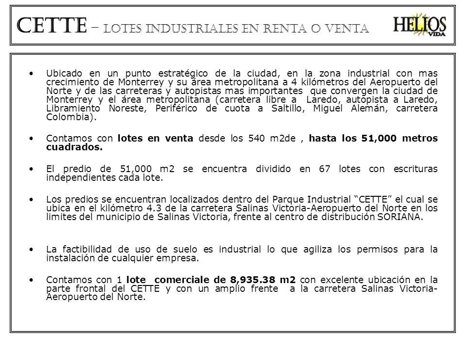 CETTe – lotes industriales en renta o venta