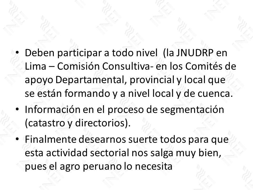 Deben participar a todo nivel (la JNUDRP en Lima – Comisión Consultiva- en los Comités de apoyo Departamental, provincial y local que se están formando y a nivel local y de cuenca.