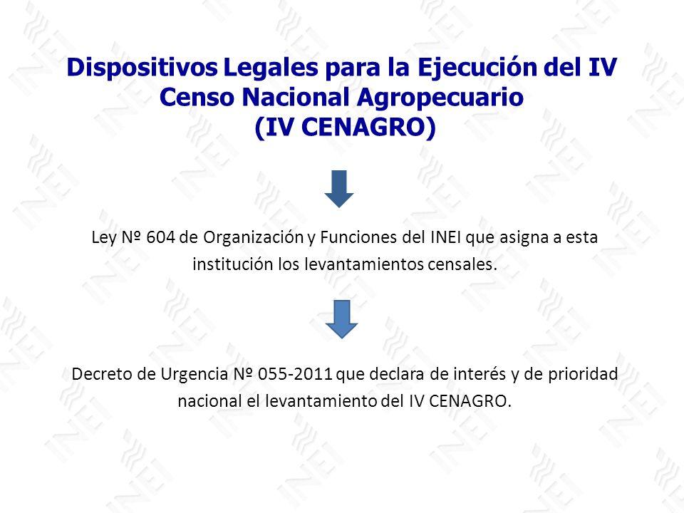 Dispositivos Legales para la Ejecución del IV Censo Nacional Agropecuario (IV CENAGRO)