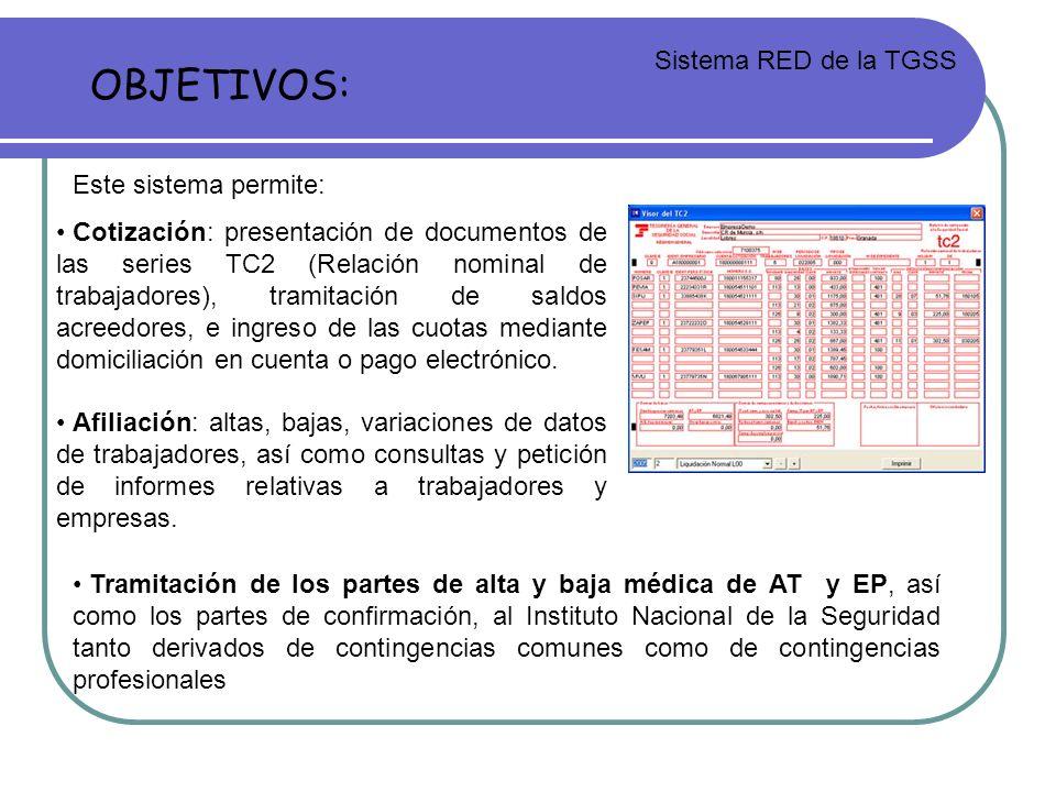 OBJETIVOS: Sistema RED de la TGSS Este sistema permite: