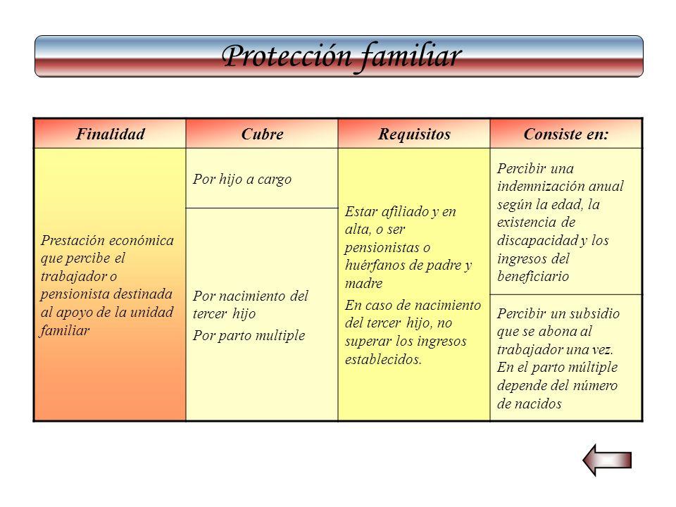 Protección familiar Finalidad Cubre Requisitos Consiste en: