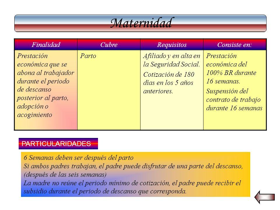 Maternidad Finalidad Cubre Requisitos Consiste en: