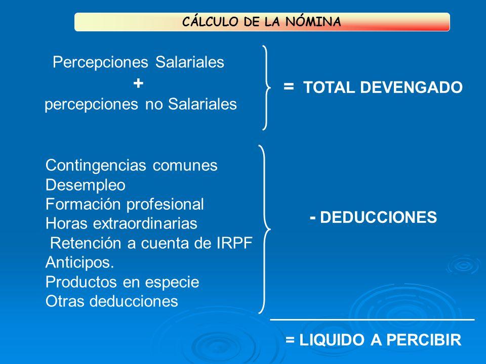 + = TOTAL DEVENGADO - DEDUCCIONES Percepciones Salariales