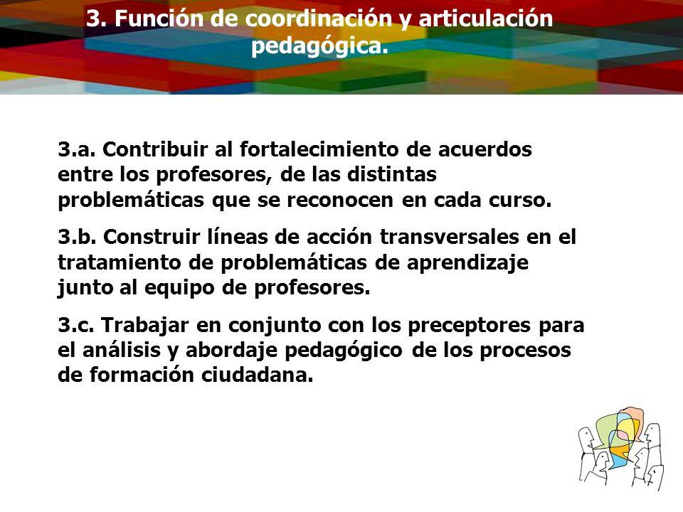 3. Función de coordinación y articulación pedagógica.