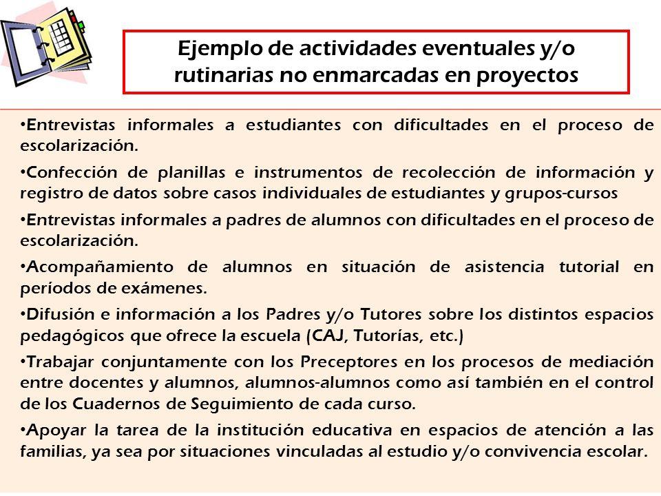Ejemplo de actividades eventuales y/o rutinarias no enmarcadas en proyectos