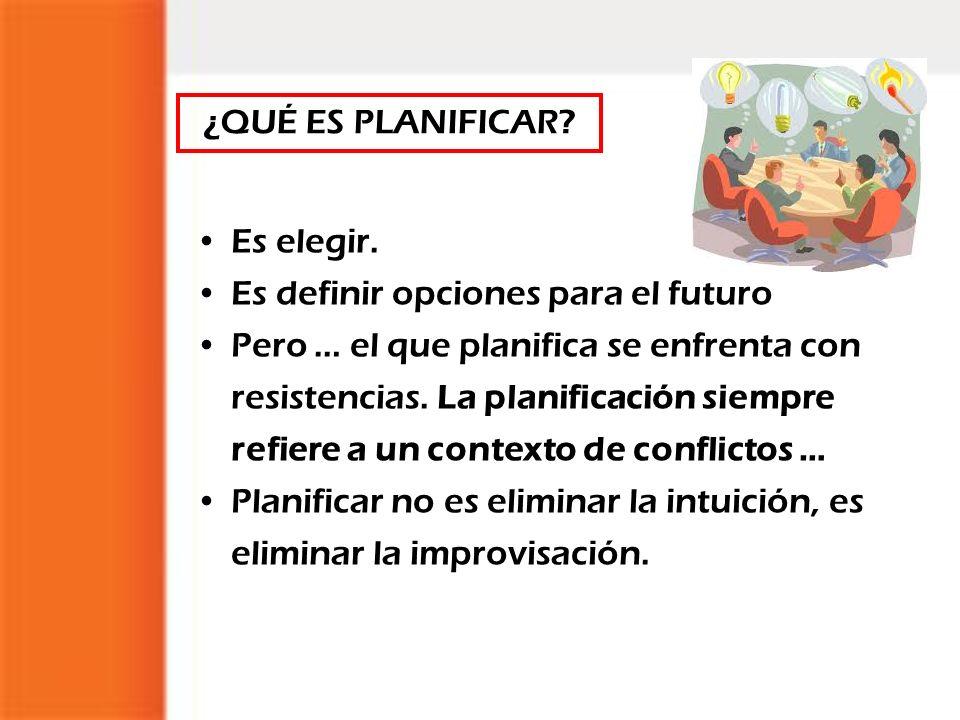 ¿QUÉ ES PLANIFICAR Es elegir. Es definir opciones para el futuro.