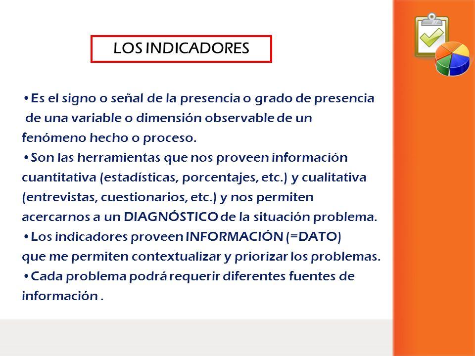LOS INDICADORES Es el signo o señal de la presencia o grado de presencia. de una variable o dimensión observable de un.