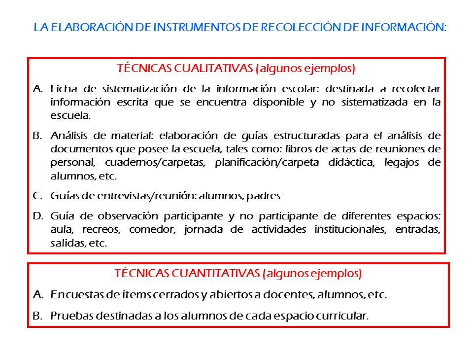 LA ELABORACIÓN DE INSTRUMENTOS DE RECOLECCIÓN DE INFORMACIÓN: