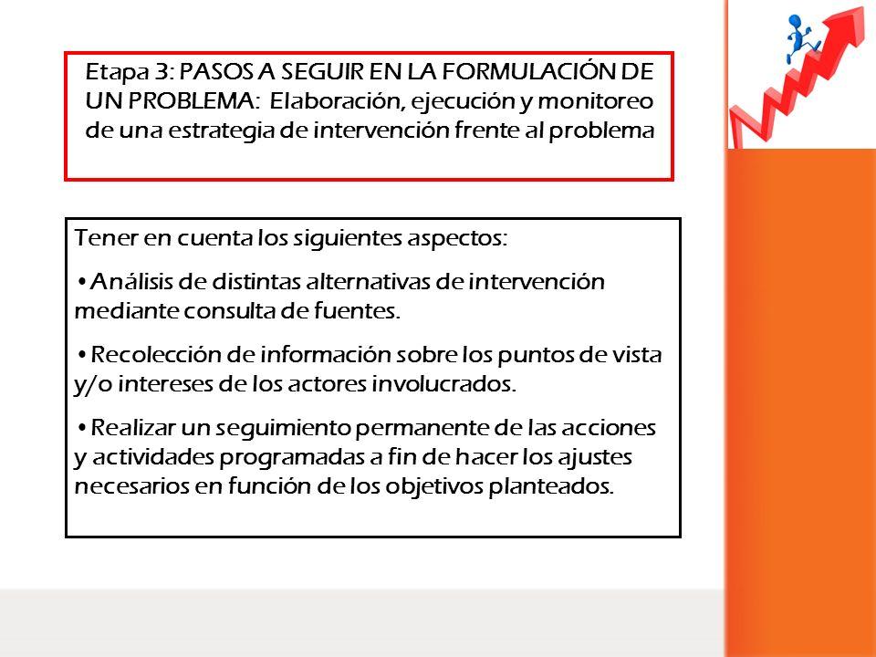 Etapa 3: PASOS A SEGUIR EN LA FORMULACIÓN DE UN PROBLEMA: Elaboración, ejecución y monitoreo de una estrategia de intervención frente al problema