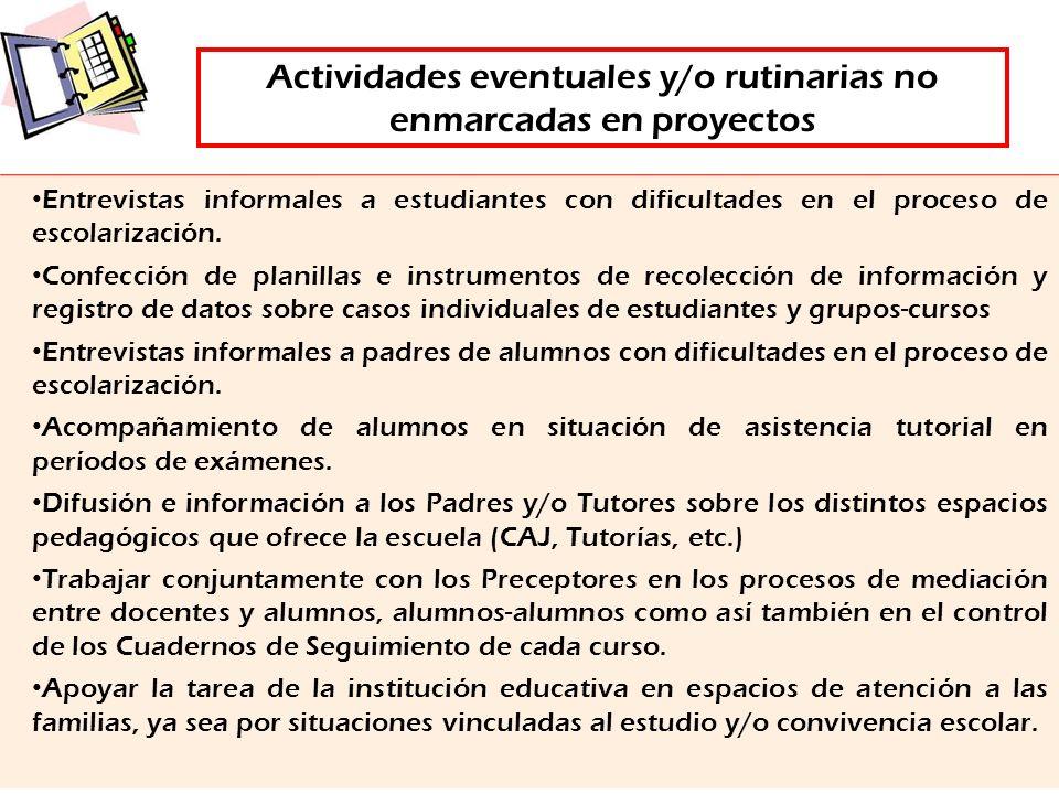 Actividades eventuales y/o rutinarias no enmarcadas en proyectos