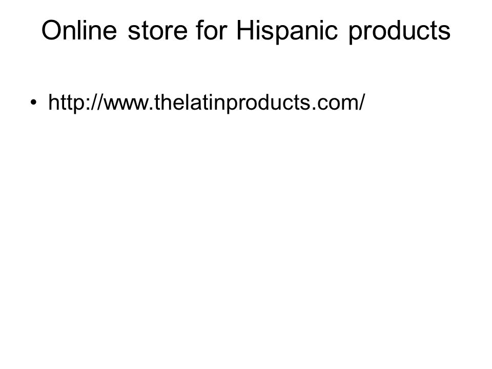 Online store for Hispanic products