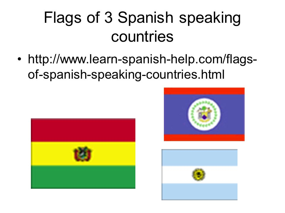 Flags of 3 Spanish speaking countries