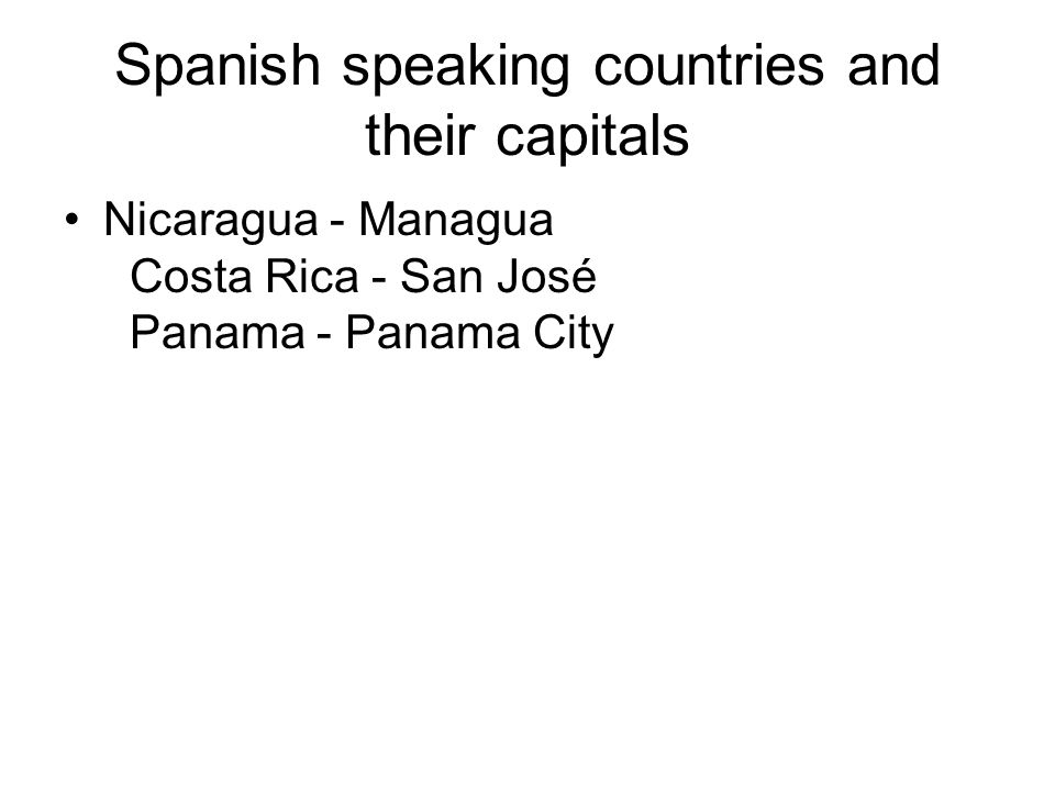 Spanish speaking countries and their capitals
