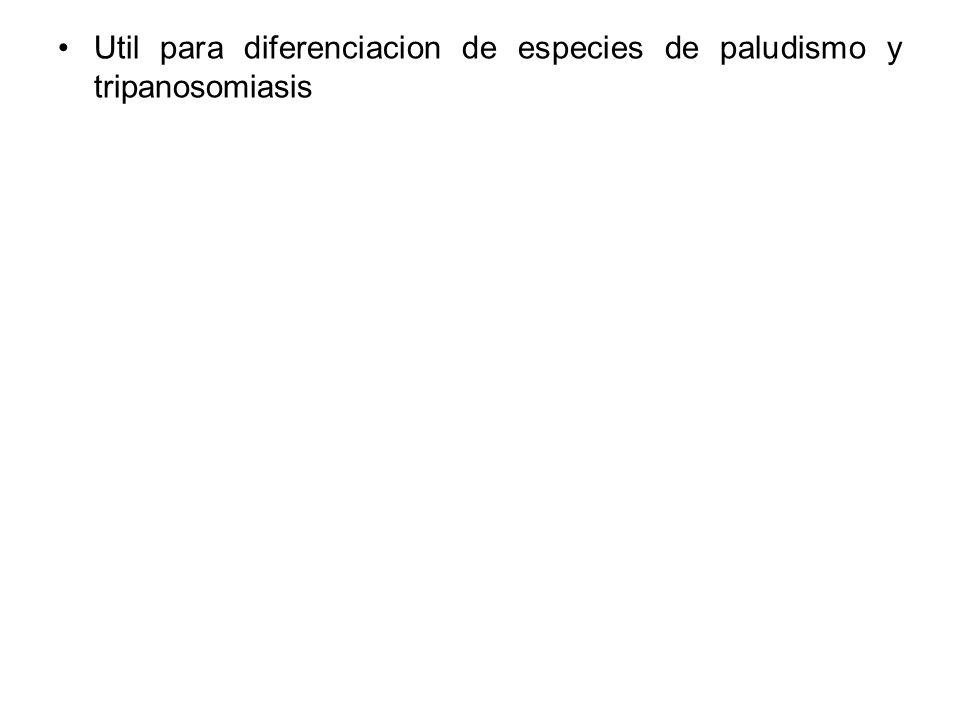 Util para diferenciacion de especies de paludismo y tripanosomiasis