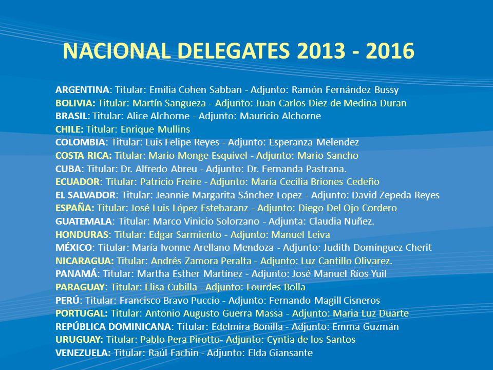 NACIONAL DELEGATES 2013 - 2016