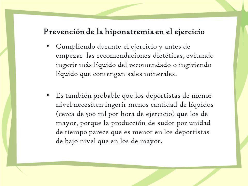 Prevención de la hiponatremia en el ejercicio