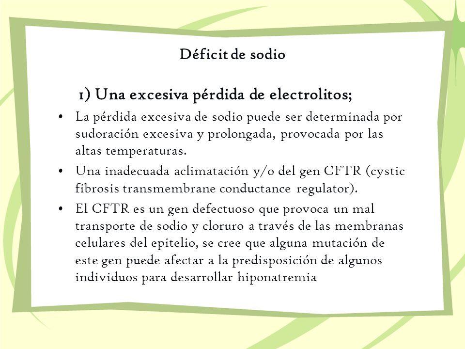 1) Una excesiva pérdida de electrolitos;