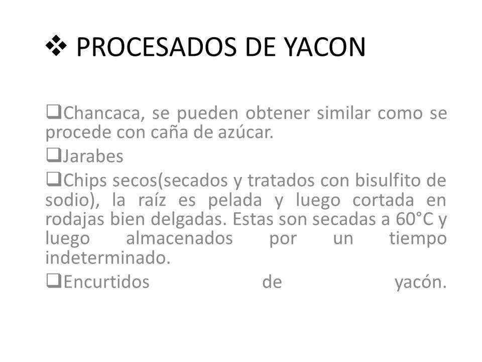 PROCESADOS DE YACON Chancaca, se pueden obtener similar como se procede con caña de azúcar. Jarabes.