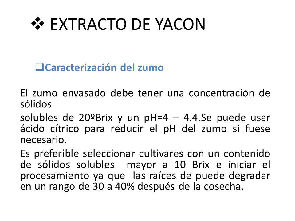 EXTRACTO DE YACON Caracterización del zumo