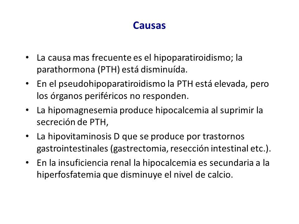 CausasLa causa mas frecuente es el hipoparatiroidismo; la parathormona (PTH) está disminuída.