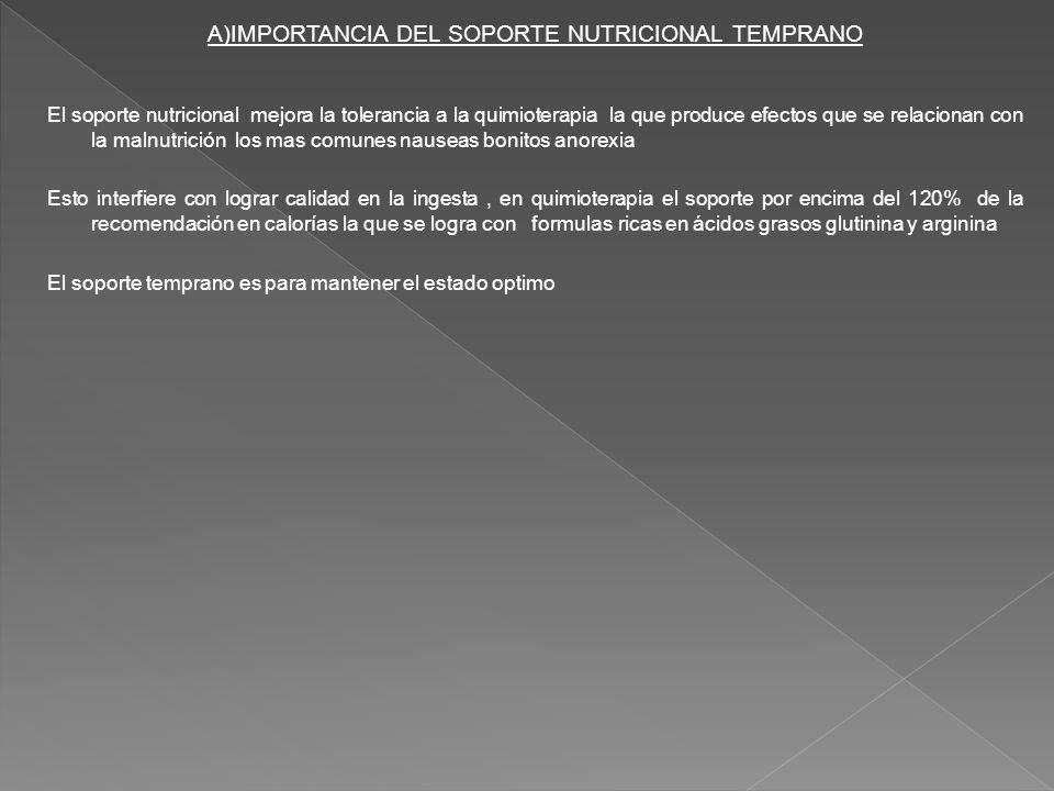 A)IMPORTANCIA DEL SOPORTE NUTRICIONAL TEMPRANO