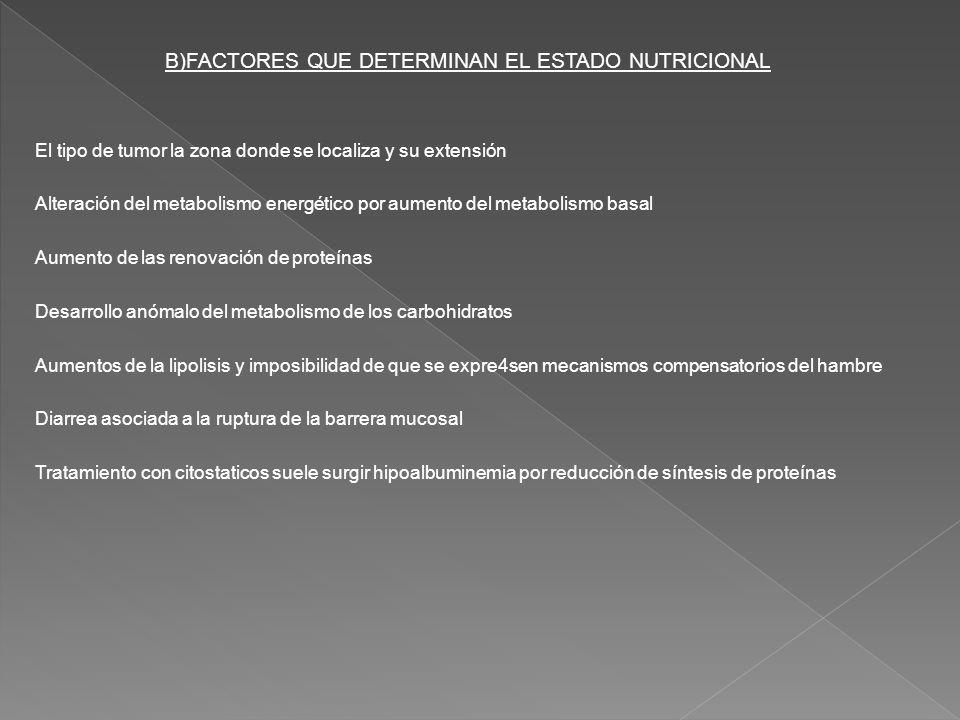 B)FACTORES QUE DETERMINAN EL ESTADO NUTRICIONAL