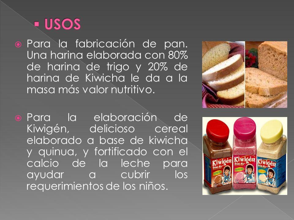 USOS Para la fabricación de pan. Una harina elaborada con 80% de harina de trigo y 20% de harina de Kiwicha le da a la masa más valor nutritivo.