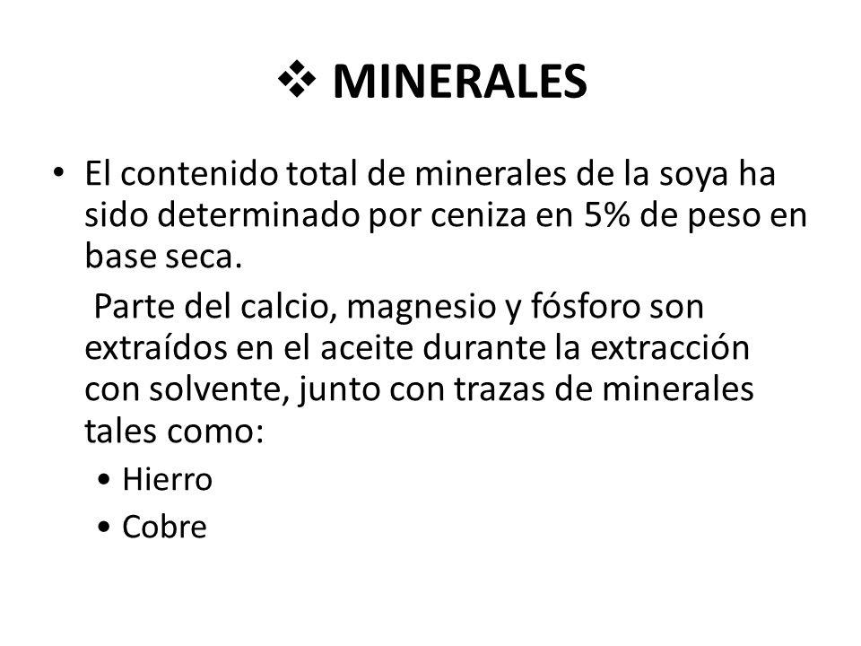 MINERALES El contenido total de minerales de la soya ha sido determinado por ceniza en 5% de peso en base seca.