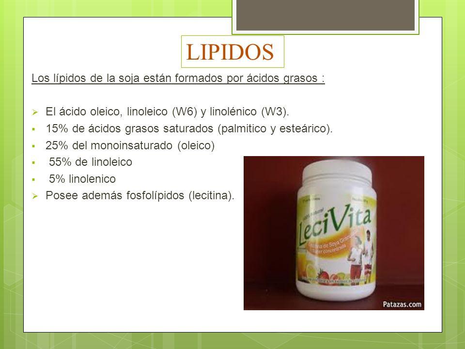 LIPIDOS Los lípidos de la soja están formados por ácidos grasos :