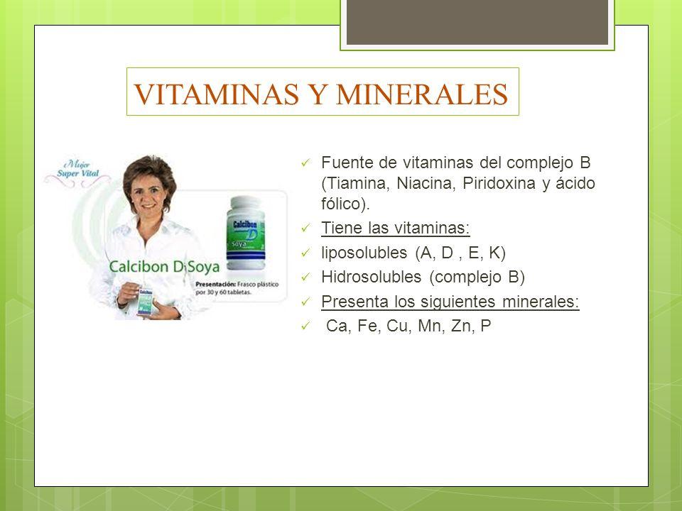 VITAMINAS Y MINERALES Fuente de vitaminas del complejo B (Tiamina, Niacina, Piridoxina y ácido fólico).