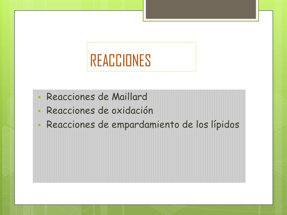 REACCIONES Reacciones de Maillard Reacciones de oxidación