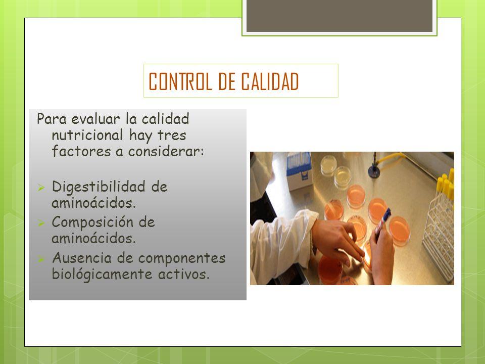 CONTROL DE CALIDAD Para evaluar la calidad nutricional hay tres factores a considerar: Digestibilidad de aminoácidos.