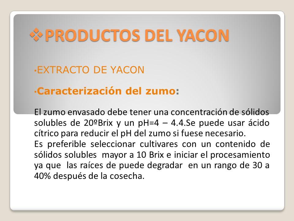 PRODUCTOS DEL YACON EXTRACTO DE YACON Caracterización del zumo: