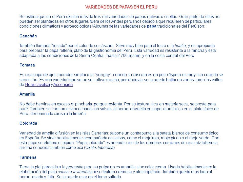 VARIEDADES DE PAPAS EN EL PERU