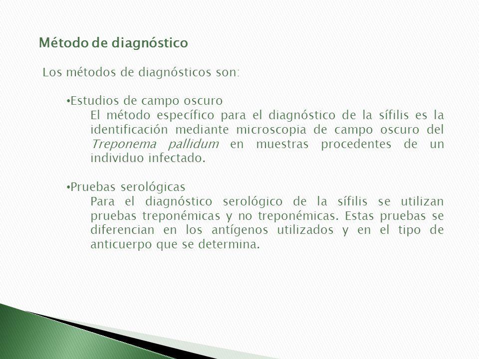 Método de diagnóstico Los métodos de diagnósticos son: