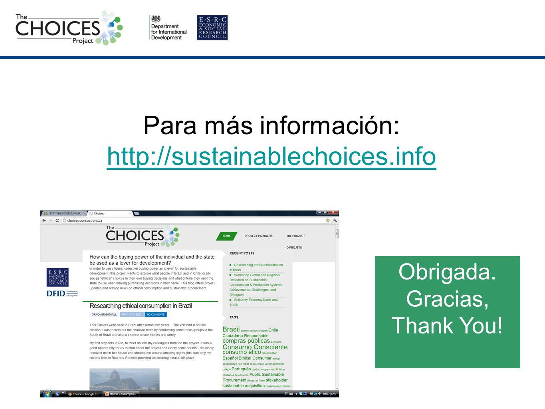 Para más información: http://sustainablechoices.info