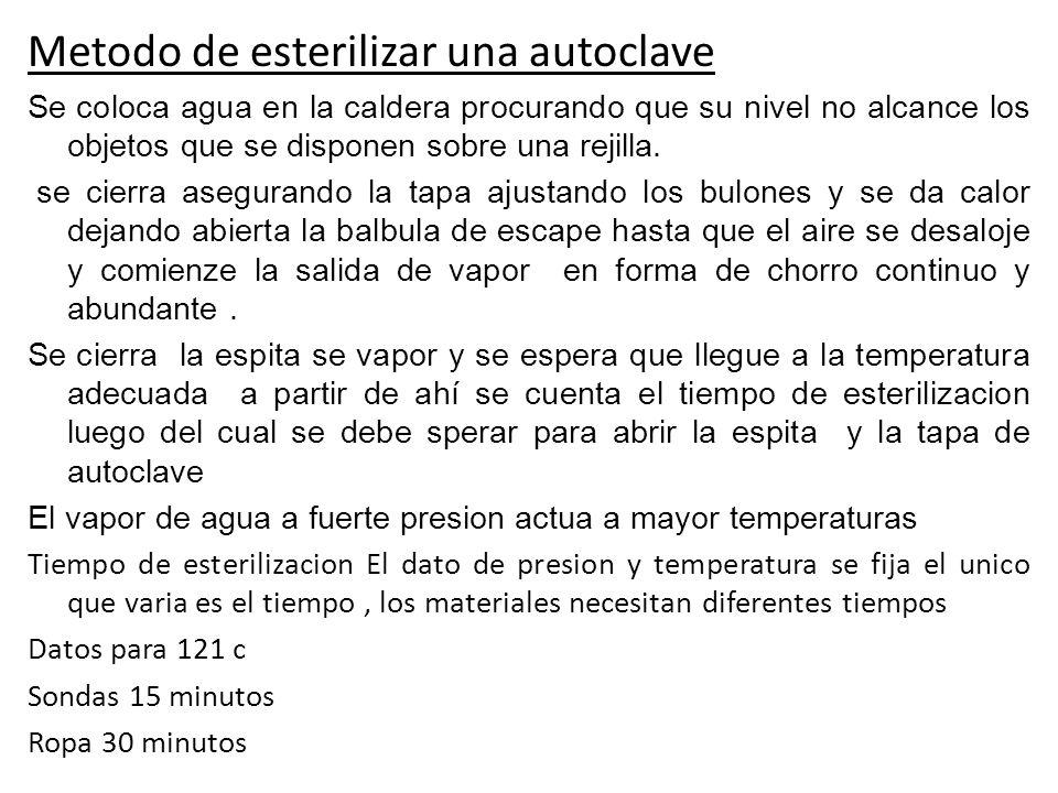 Metodo de esterilizar una autoclave