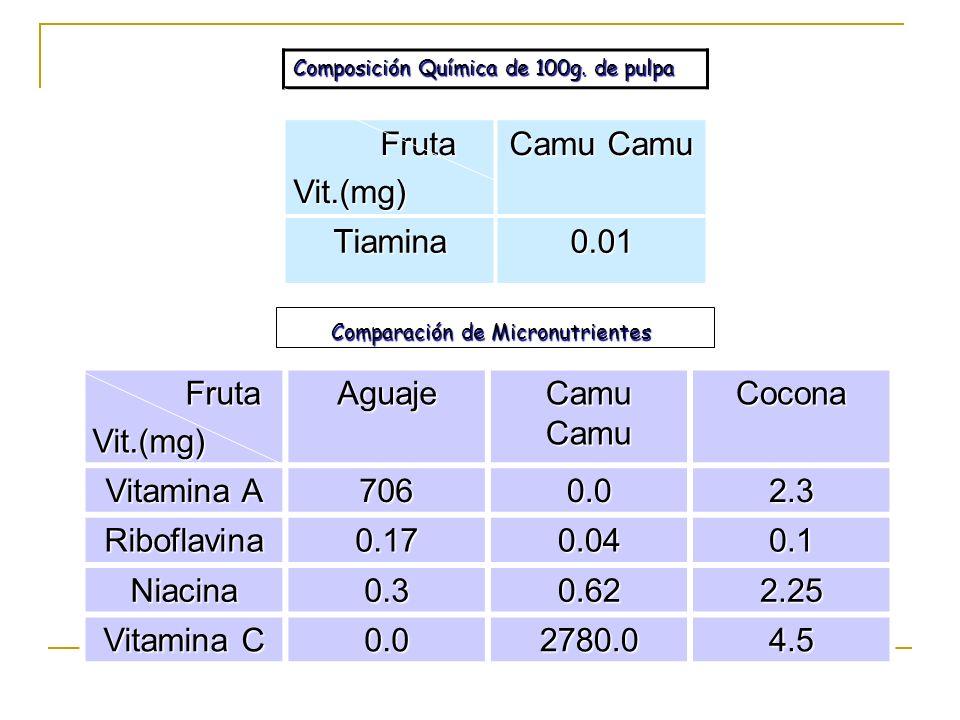 Fruta Vit.(mg) Camu Camu Tiamina 0.01 Fruta Vit.(mg) Aguaje Camu Camu