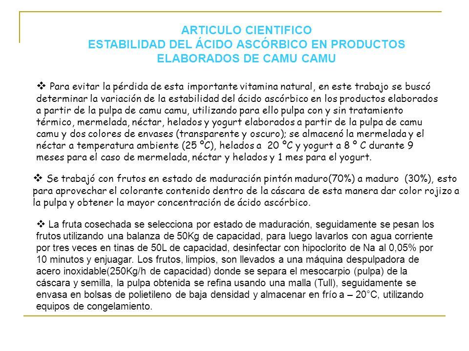 ARTICULO CIENTIFICO ESTABILIDAD DEL ÁCIDO ASCÓRBICO EN PRODUCTOS ELABORADOS DE CAMU CAMU