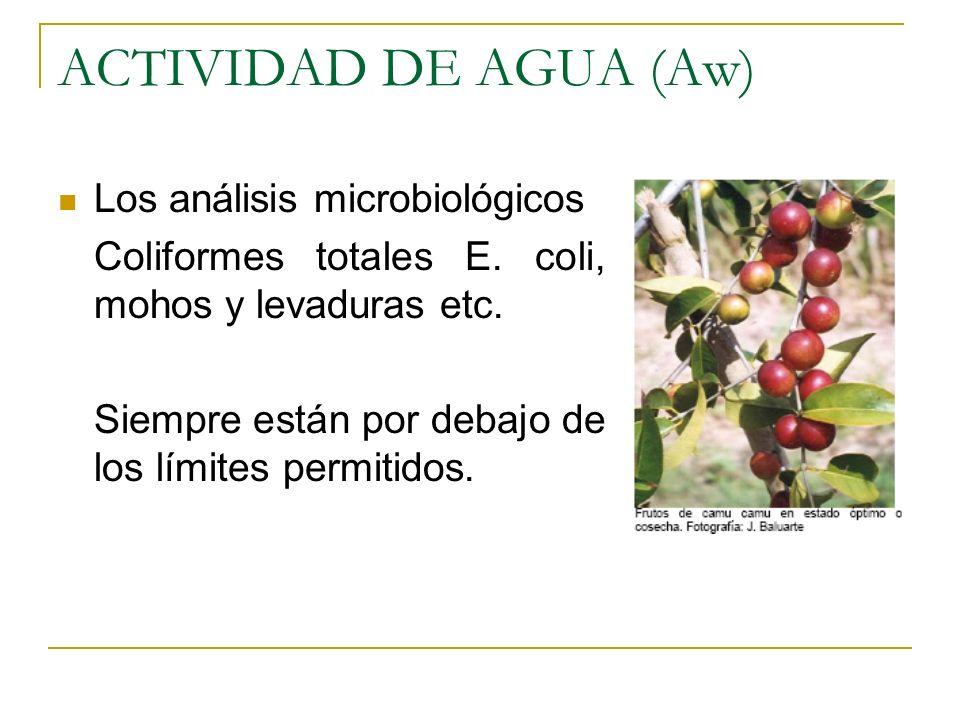 ACTIVIDAD DE AGUA (Aw) Los análisis microbiológicos