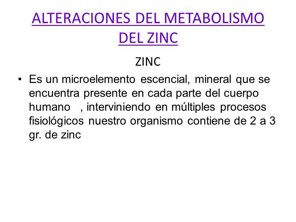 ALTERACIONES DEL METABOLISMO DEL ZINC