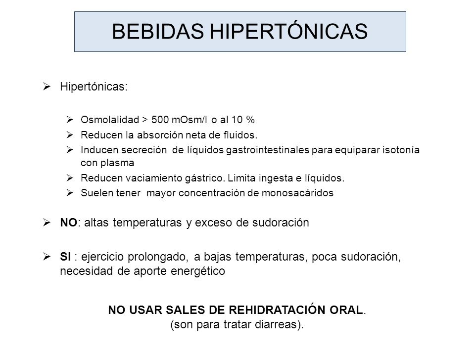 Bebidas hipertónicas Hipertónicas: