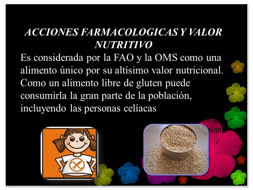 ACCIONES FARMACOLOGICAS Y VALOR NUTRITIVO