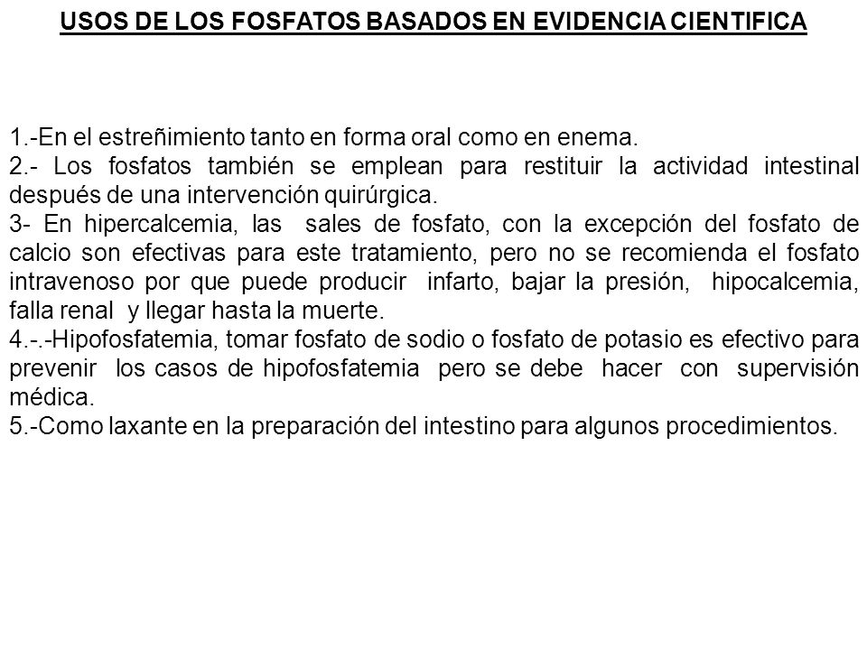 USOS DE LOS FOSFATOS BASADOS EN EVIDENCIA CIENTIFICA