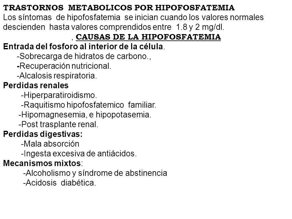 , CAUSAS DE LA HIPOFOSFATEMIA