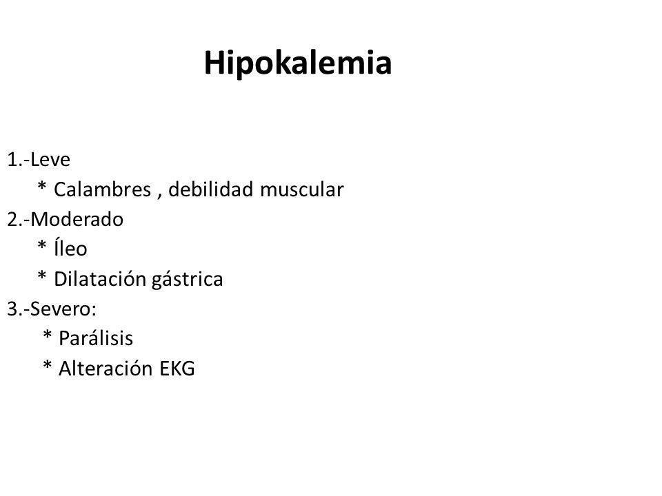 Hipokalemia * Calambres , debilidad muscular * Íleo