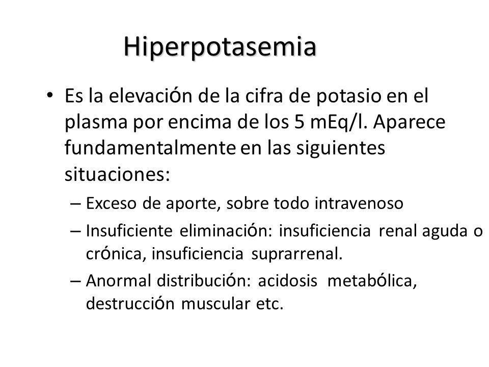 Hiperpotasemia Es la elevación de la cifra de potasio en el plasma por encima de los 5 mEq/l. Aparece fundamentalmente en las siguientes situaciones: