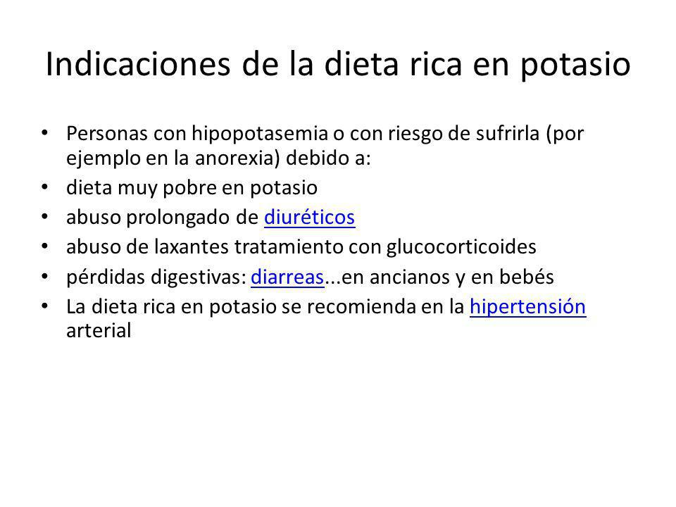 Indicaciones de la dieta rica en potasio