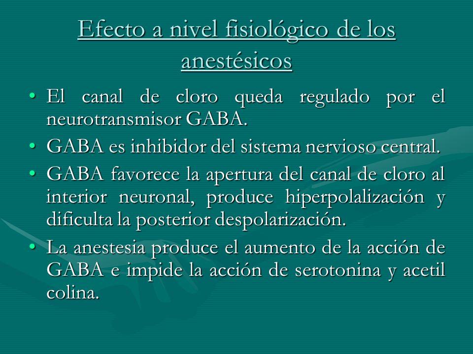 Efecto a nivel fisiológico de los anestésicos