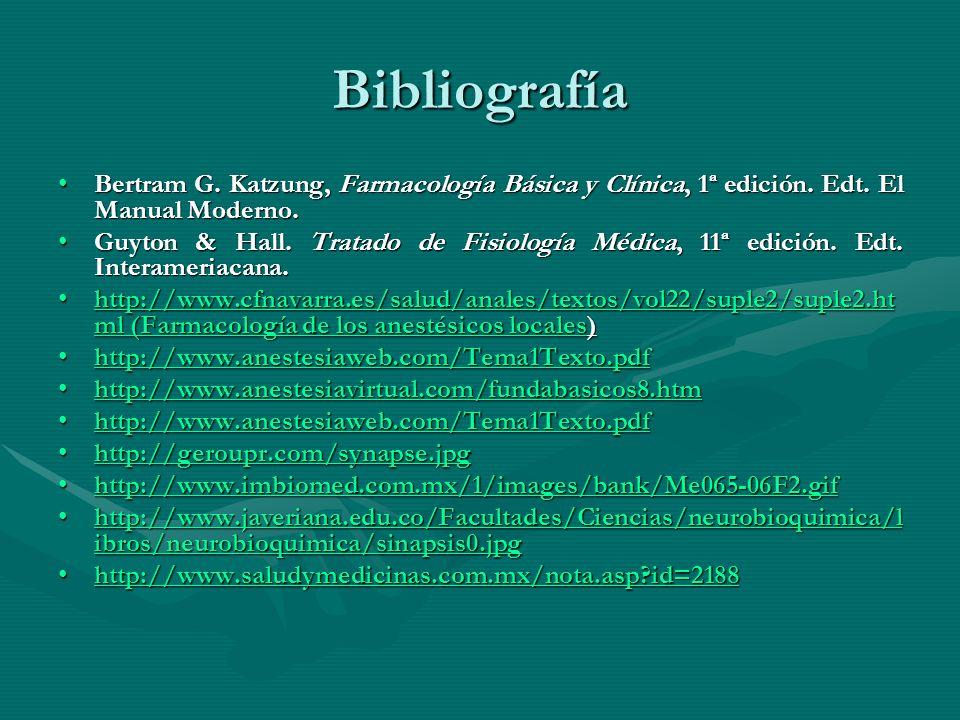 Bibliografía Bertram G. Katzung, Farmacología Básica y Clínica, 1ª edición. Edt. El Manual Moderno.